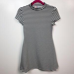 Free People FP Beach Stripe Mini Dress Gray White